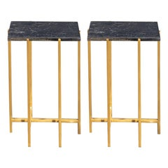 1960s-1970s Design Style Black Marble and Brass Pair of Side Tables