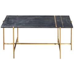 1960s-1970s Design Style Black Marble and Brass Rectangular Coffee Table