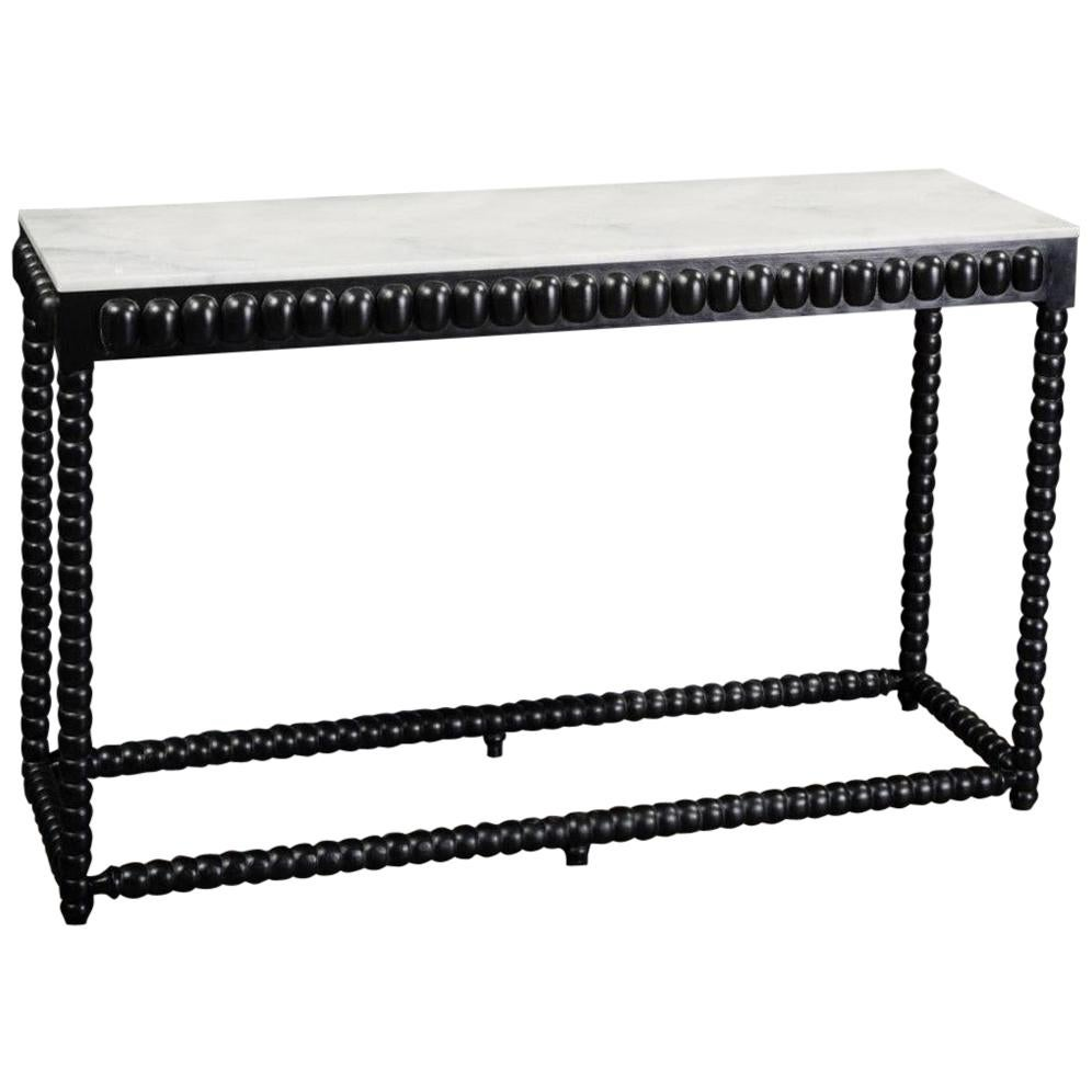 1960s-1970s Design White Marble and Black Wooden Console Table