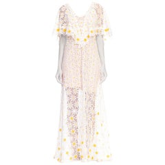 1960s - 1970s Floral Daisy Sheer Lace Dress