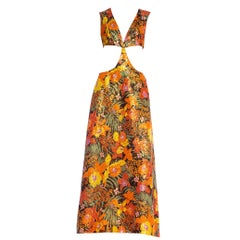 1960's 1970's Floral + Gold Lurex Bare Midriff Crop Top Dress