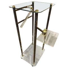 1960s-1970s France Cool and Detailed Valet-Plexi Glass, Chrome, Brass and Glass