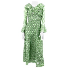 1960s/1970s I. Magnin Green Lace and Mesh Dress