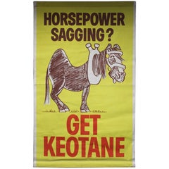 "1960s-1970s Keotane ""Horsepower Sagging"" Canvas Poster"