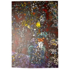 """1960s-1970s Large Abstract Oil Painting """"A splash of Colour"""" by Stanley Churchus"""