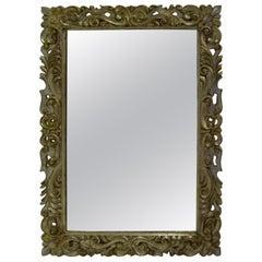 1960s-1970s Large Silver Gilt Florentine Style Mirror
