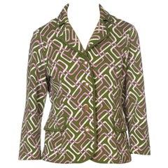 1960S Lime Green Wool Knit Mod Geometric Cozy Cropped Cardigan Jacket