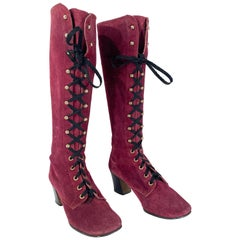 1960s/1970s Purple Suede Lace-up Boots