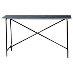 1960s-1970s Style Black Marble Black Lacquered Metal and Brass Console Table