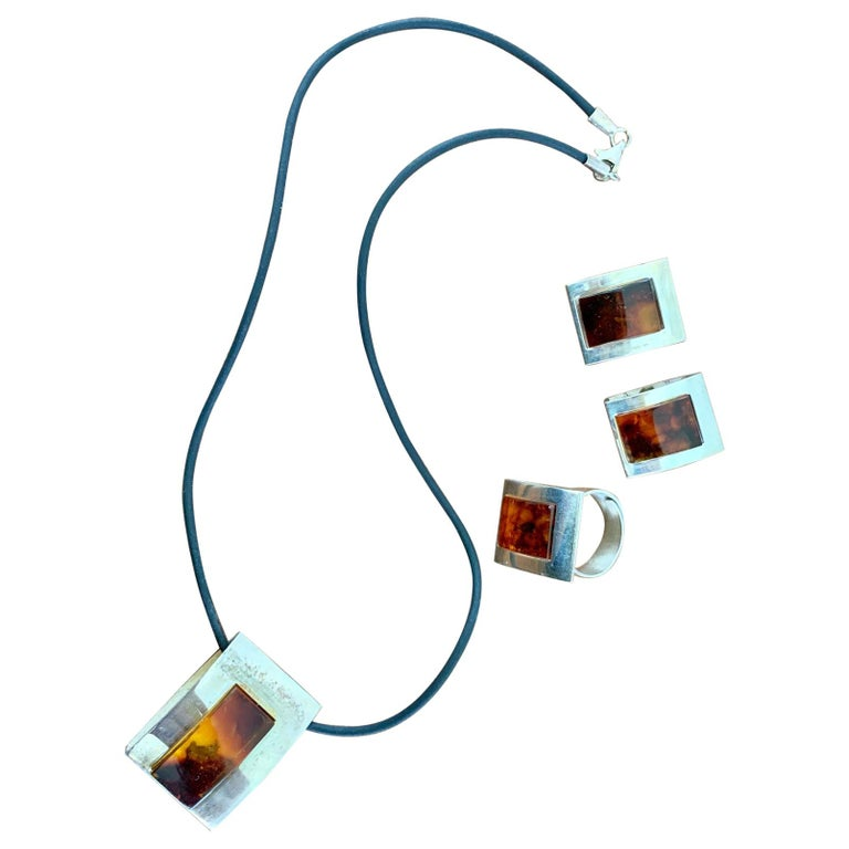 1960s-1980s 3-Piece Amber and Sterling Pendant Necklace, Ring and Earrings Set For Sale