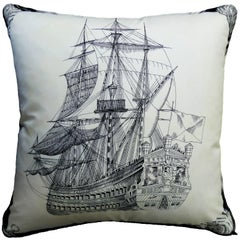 "Vintage Cushion 1960's & 1980's ""The Royal Ship"" Luxury pillow - Made in London"