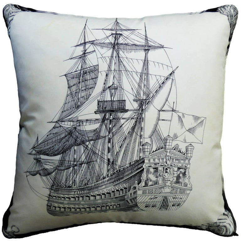 """Vintage Cushion 1960's & 1980's """"The Royal Ship"""" Luxury pillow - Made in London  For Sale"""