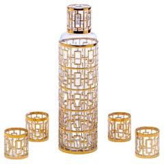 1960s 22k Gold Shoji Sake Bottle & Glasses Set by Imperial Glass Co.