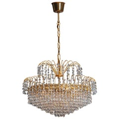 1960s, 24-Carat Gold-Plated and Faceted Crystal Chandelier by Reijmyre, Sweden
