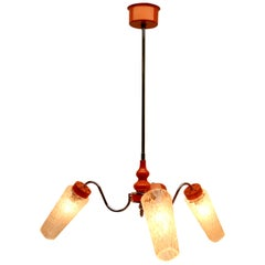 1960s 3-Arm Hanging Lamp, Tangerine, Chrome and Wood with Optical Lampcovers