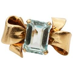 1960s 3 Carat Aquamarine Bow Ring in 14 Karat Gold