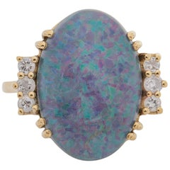 1960s 3 Carat Australian Opal and Diamond Ring, 10 Karat Gold