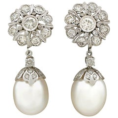 1960s 3.58 Carat Diamond South Sea Pearl White Gold Drop Earrings
