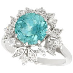 1960s 3.84 Carat High Zircon and Diamond White Gold Cocktail Ring