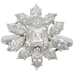 1960s 3.94 Carat Diamond and Platinum Cluster Ring