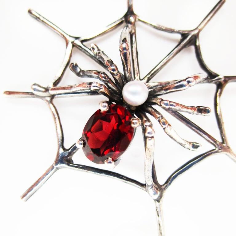 Art Deco 1960s 4 Carat Red Garnet Sterling Silver Handmade Spider Dangle Earrings For Sale