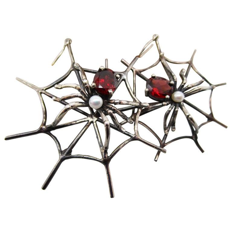 1960s 4 Carat Red Garnet Sterling Silver Handmade Spider Dangle Earrings For Sale