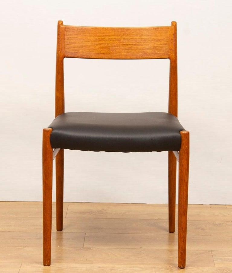 Mid-Century Modern 1960s 4 Teak and Leather Arne Vodder Sibast Scandinavian Model 418 Dining Chairs For Sale