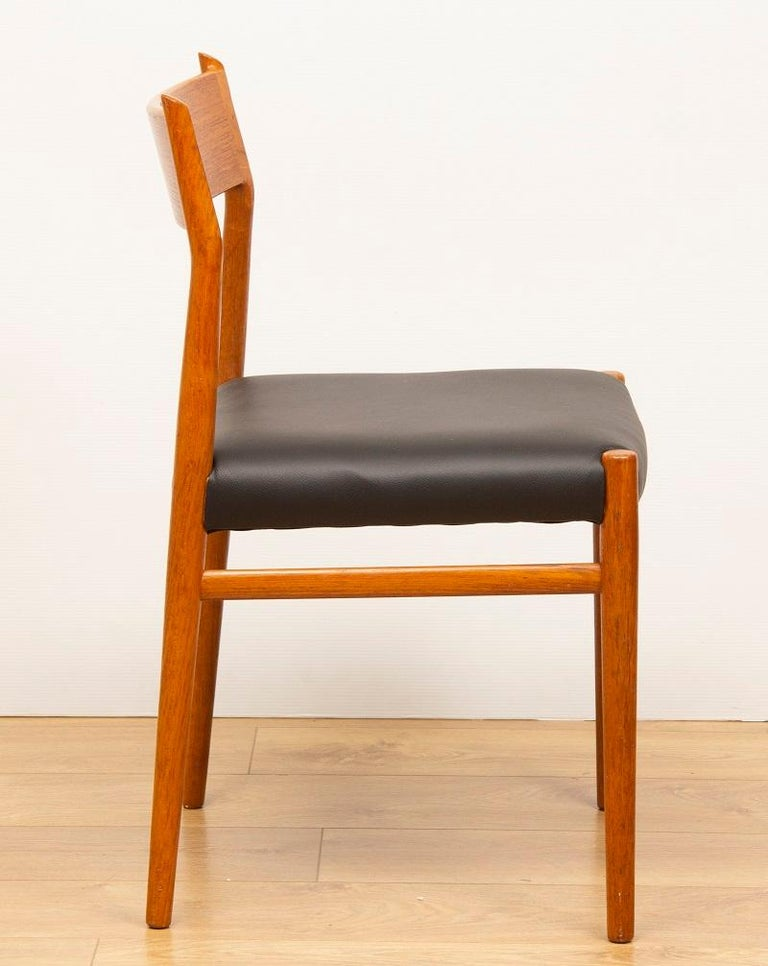 Danish 1960s 4 Teak and Leather Arne Vodder Sibast Scandinavian Model 418 Dining Chairs For Sale