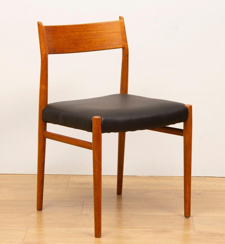 4 Dining Room Chairs For Sale: 1960s 4 Teak And Leather Arne Vodder Sibast Scandinavian