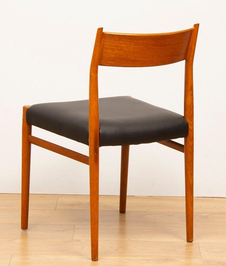 20th Century 1960s 4 Teak and Leather Arne Vodder Sibast Scandinavian Model 418 Dining Chairs For Sale