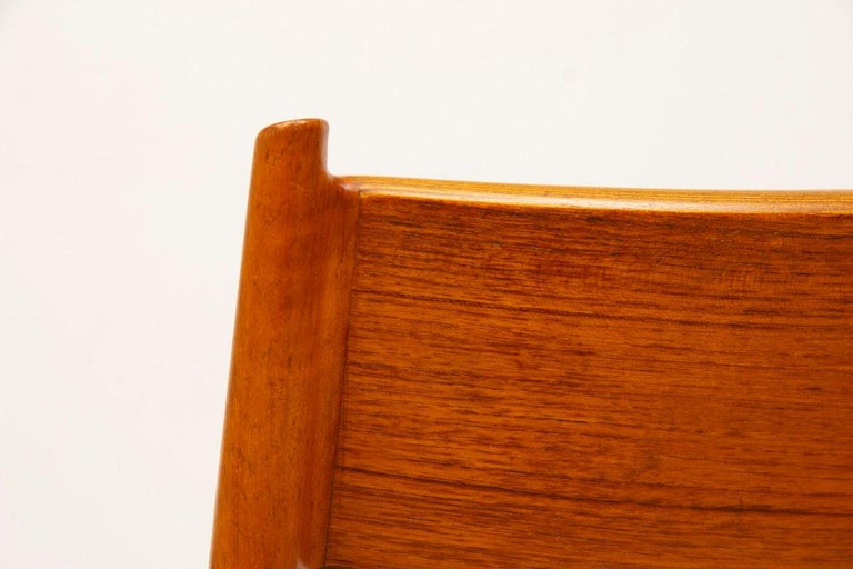 1960s 4 Teak and Leather Arne Vodder Sibast Scandinavian Model 418 Dining Chairs For Sale 1