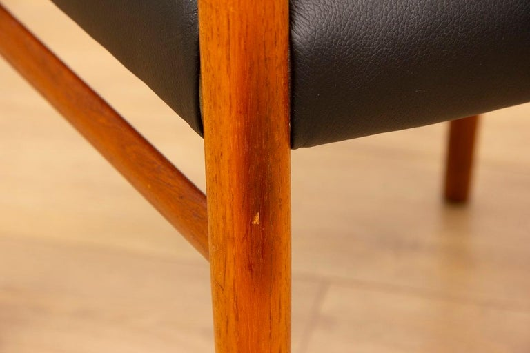 1960s 4 Teak and Leather Arne Vodder Sibast Scandinavian Model 418 Dining Chairs For Sale 2