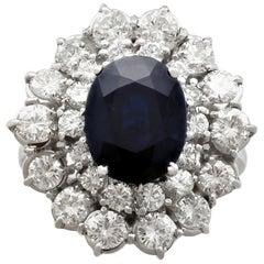 1960s 4.05 Carat Sapphire and 2.10 Carat Diamond White Gold Cluster Ring