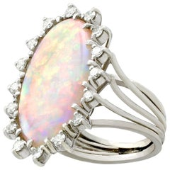 1960s 5.15 Carat White Opal and Diamond White Gold Cocktail Ring