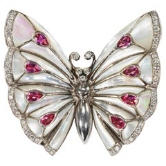 1980s 6Cts 18kt Mosaic Style Mother of Pearl Diamond Sapphire Butterfly Brooch