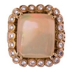 1960s 7.32 Carat Opal Diamond 18 Carat Rose Gold Retro Ring