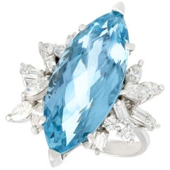 1960s 8.54 Carat Aquamarine and 1.66 Carat Diamond White Gold Cocktail Ring