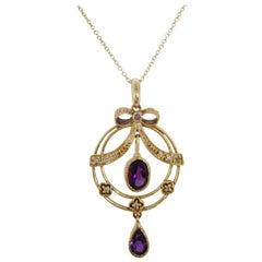 1960s 9 Carat Yellow Gold Amethyst Diamond Pearl Pendant