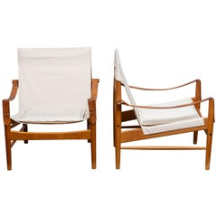 1960s, a Pair of Safari Chairs by Hans Olsen for Viska Möbler in Kinna, Sweden