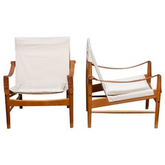 1960s, a Pair of Safari Chairs by Hans Olsen for Viska Möbler in Kinna, Sweden