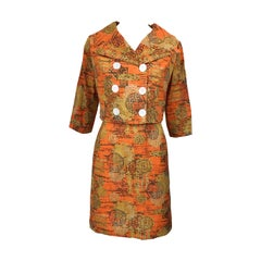 1960s Abstract Asian Batik Linen Vintage 60s Chic Cropped Jacket + Skirt Suit