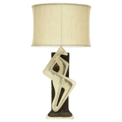 1960s Abstract Ceramic Black and White Table Lamp by Plasto