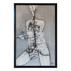 1960s Abstract Figurative Black & White Charcoal on Paper Wall Art