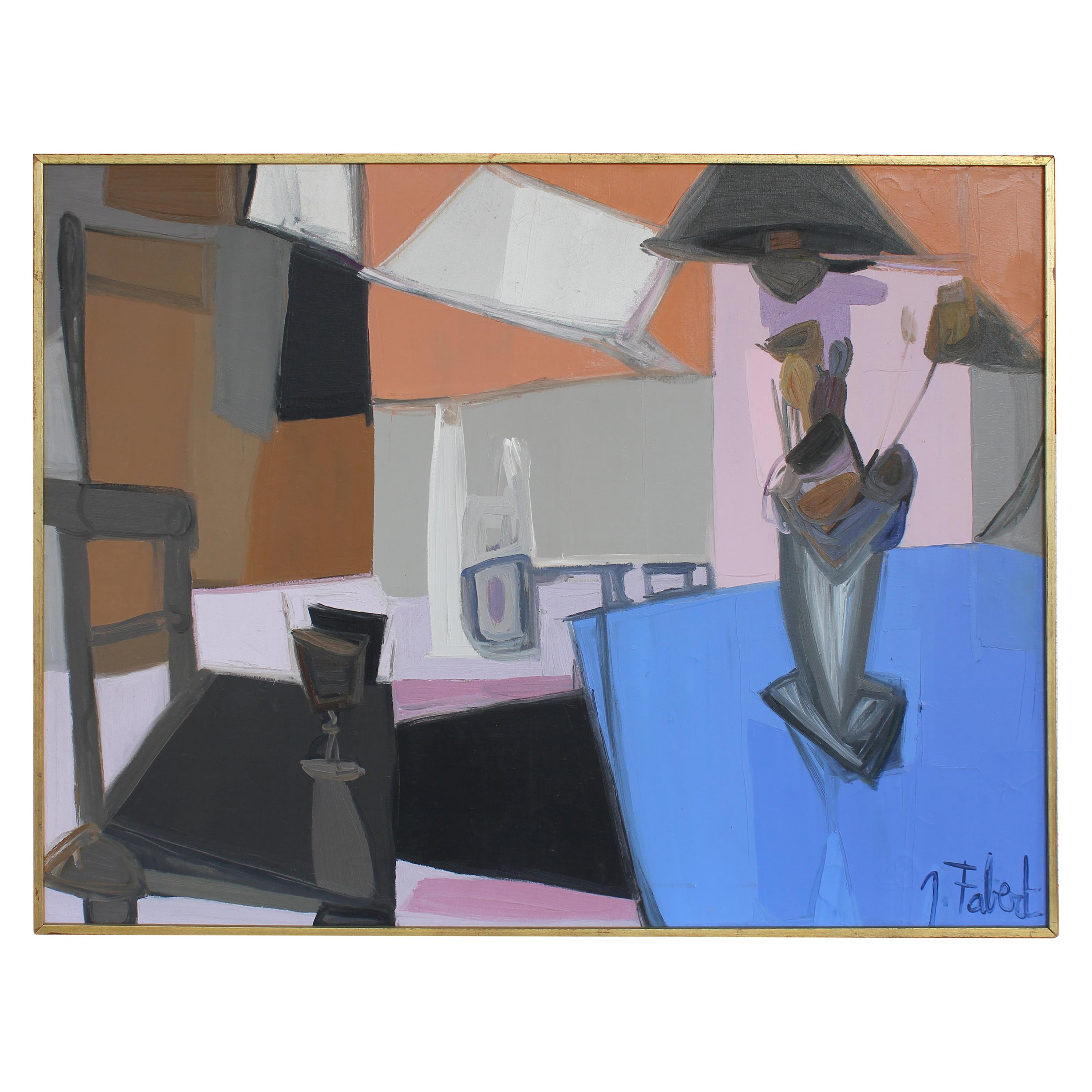 1960s Abstract Interior Scene Oil Painting by Jacques Fabert