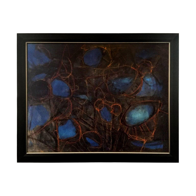 1960s Abstract Modernist Acrylic Painting in Black, Blue and Red