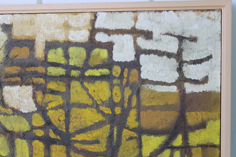 Oiled 1960s Abstract Painting by Milton For Sale