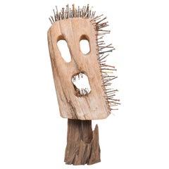 1960s Abstract Sculpture Modern Art Screaming Headache Driftwood Color Nailheads