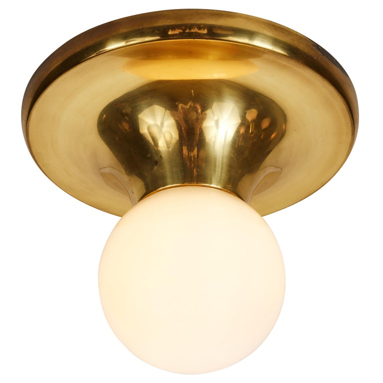 1960s Achille Castiglioni 'Light Ball' wall or ceiling lamp for Flos. Designed in 1965, this rare and vintage brass variant comes with satin opaque glass. An incredibly refined and iconic midcentury design that is quintessentially Italian.