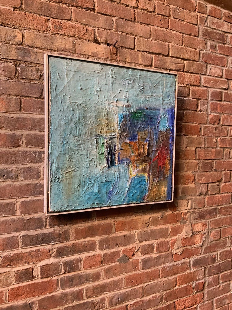 Signed A. Lazansky upper right. Heavy expressive impasto textured build up of paint surface. Oil paint on stretched canvas, circa 1950-1960. Framing treatment consists of white painted profile molding. Good condition with some cracking of surface