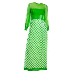 1960's Adele Simpson Vintage Green Dress w Sequins Deadstock New w Original Tags